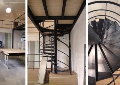 """Photo de l'escalier en colimaçon """"après"""""""