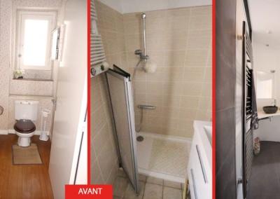 """Photos de la salle d'eau """"avant/ après"""""""