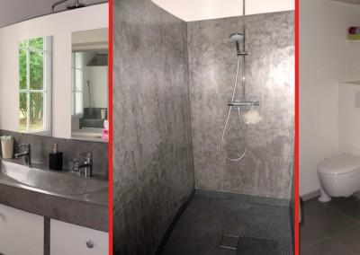 """Photo de l'espace douche et des WC """"après"""""""
